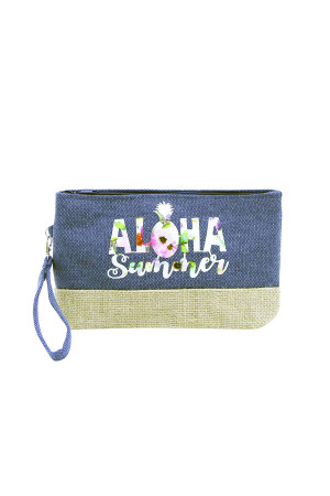 SA3-3-5-AMP0011BL BLUE BEACH BAG POUCH ALOHA SUMMER/6PCS