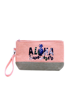 SA3-3-5-AMP0011CO CORAL BEACH BAG POUCH ALOHA SUMMER/6PCS