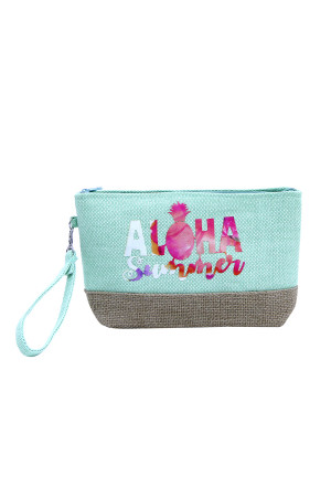 SA3-2-1-AMP0011GN GREEN BEACH BAG POUCH ALOHA SUMMER/6PCS