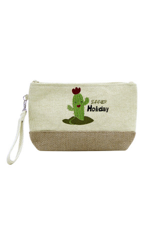 SA3-2-5-AMP0012BE BEIGE BEACH BAG POUCH CACTUS/6PCS