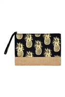 S27-8-2-MP0028BK - GOLD FOIL PINEAPPLE BEACH POUCH-BLACK/6PCS