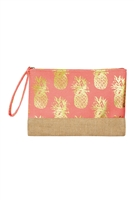 S27-8-2-MP0028CO - GOLD FOIL PINEAPPLE BEACH POUCH-CORAL/6PCS