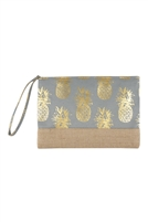 S18-11-5-MP0028GR- PINEAPPLE  PRINT POUCH - GOLD GRAY/6PCS