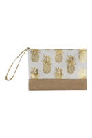 S27-8-2-MP0028WH - GOLD FOIL PINEAPPLE BEACH POUCH-WHITE/6PCS