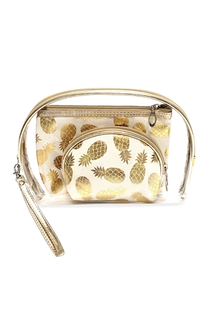 S28-9-4-MP0078WH-GOLD FOIL PINEAPPLE AND CLEAR 3PCS POUCHES - WHITE /6PCS