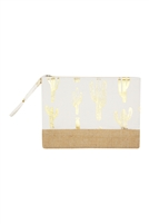 S18-8-5-MP0084WH- CACTUS FOIL POUCH - GOLD WHITE/6PCS