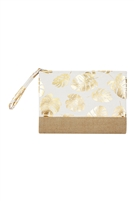 S27-9-2-MP0085WH - GOLD FOIL TROPICAL LEAVES POUCH-WHITE/6PCS