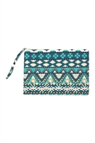 S27-9-2-MP0087 - AZTEC PATTERN POUCH-TURQUOISE/6PCS
