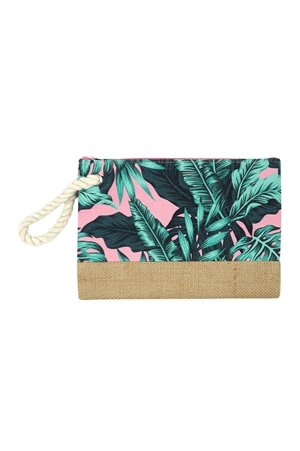 S18-11-5-MP0091PK- TROPICAL LEAVES POUCH - PINK/6PCS