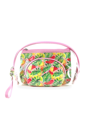 S29-8-1-MP0104 - TROPICAL FRUITS AND CLEAR 3PCS POUCHES/6PCS