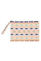 S28-1-5-MP0121CO-MT - LEOPARD TRIBAL POUCH-CORAL MINT/6PCS