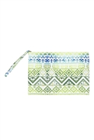 S28-2-5-MP0122GN-NV - COLORFUL TRIBAL POUCH-GREEN NAVY/6PCS