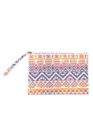S28-2-5-MP0122NV-RD - COLORFUL TRIBAL POUCH-NAVY RED/6PCS