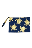 S27-8-2-MP0124NV - GOLD FOIL TURTLE POUCH BAG NAVY/6PCS