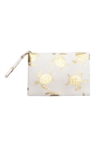S27-8-2-MP0124WH - GOLD FOIL TURTLE POUCH BAG WHITE/6PCS