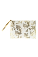 S28-7-2-MP0126WH - GOLD FOIL PAISLEY POUCH WHITE/6PCS