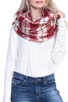 S28-7-2-MS0018RD - COLOR BLOCK PLAID INFINITY SCARF- RED /6PCS