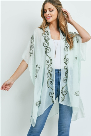 S18-13-2-MS0033GN - EASTERN EMBROIDERED KIMONO GREEN/6PCS