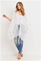 S28-9-4-MS0043WH-LIGHTWEIGHT ANCHOR & LEAF BEACH COVER UPS - WHITE /6PCS