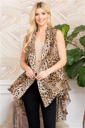 S28-9-4-MS0063BR-MIXED ANIMAL PRINT VEST - BROWN /6PCS