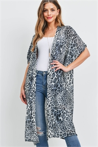 S28-7-4-MS0069GR-MULTI ANIMAL PRINT KIMONO - GRAY /6PCS