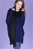 S21-10-5-MS0077BK- SUPER SOFT SOLID CASHMERE FEEL SCARF - BLACK/6PCS