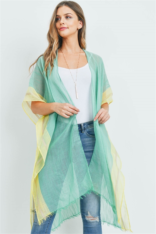 S29-9-2-MS0081GN - TWO TONE TRIM SOLID KIMONO GREEN/6PCS