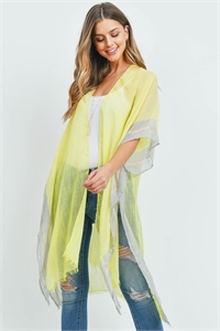 S29-9-2-MS0081YE - TWO TONE TRIM SOLID KIMONO YELLOW/6PCS