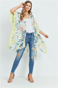 S29-8-2-MS0088YE - FLOWER PRINT SOLID TRIM KIMONO YELLOW/6PCS