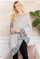 S21-10-2-MS0090GR - SNAKE TRIM SOLID PONCHO - GRAY/6PCS