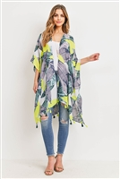 S28-8-4-MS0100N/YE-TROPICAL LEAVES TASSEL KIMONO NEON YELLOW /6PCS
