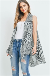 S22-10-3-MS0115GR - MULTI ANIMAL PRINT KIMONO VEST GRAY/6PCS