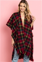 S21-9-3-MS0129RD -KNEE LENGTH TARTAN PLAID KIMONO-ORANGE/6PCS