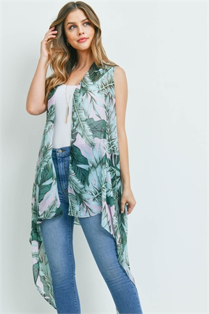 S29-6-4-MS0140PK - TROPICAL LEAVES KIMONO VEST PINK/6PCS