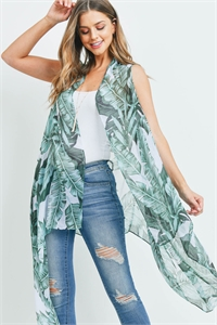 S20-11-4-MS0140WH - TROPICAL  LEAVES KIMONO VEST WHITE/6PCS