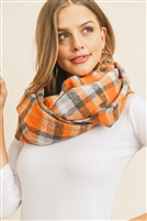 S28-7-1-MS0142OR - MULTI COLOR TARTAN PLAID INFINITY SCARF-ORANGE/6PCS