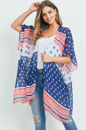 S19-11-3-MS0155 - MULTI STRIPED AMERICAN FLAG KIMONO /6PCS