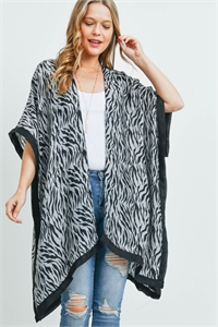 S29-3-1-MS0159GR - TIGER BLACK TRIM KIMONO GREY/6PCS