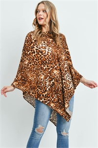 S29-3-4-MS0165BR - ALL YEAR ROUND LEOPARD PONCHO BROWN/6PCS
