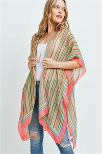S17-12-5-MS0172CO - MULTI COLOR STRIPE KIMONO-CORAL/6PCS
