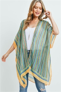 S17-12-5-MS0172GN - MULTI COLOR STRIPE KIMONO-GREEN/6PCS