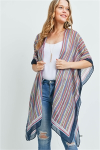 S17-11-2-MS0172NV - MULTI COLOR STRIPE KIMONO-NAVY/6PCS