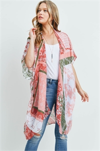 S17-10-1-MS0175CL - PAISLEY MULTI PRINT PATCH KIMONO CLAY/6PCS