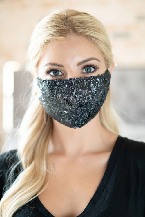S4-7-1-AMSK2000BK BLACK GLITTER SEQUINS FASHION FACE MASK W/ FILTER POCKET/6PCS ***WARNING: California Proposition 65***