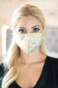 S4-8-1-AMSK2000DGD GOLD GLITTER SEQUINS FASHION FACE MASK W/ FILTER POCKET/6PCS