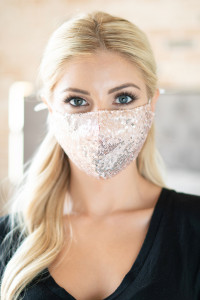S4-8-1-AMSK2000G ROSE GOLD GLITTER SEQUINS FASHION FACE MASK W/ FILTER POCKET/6PCS