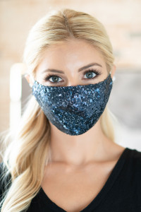 S4-7-3-AMSK2000NV NAVY GLITTER SEQUINS FASHION FACE MASK W/ FILTER POCKET/6PCS