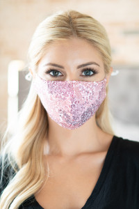 S4-7-3-AMSK2000PK PINK GLITTER SEQUINS FASHION FACE MASK W/ FILTER POCKET/6PCS