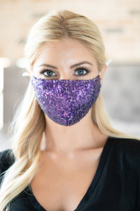 S4-7-3-AMSK2000PU PURPLE GLITTER SEQUINS FASHION FACE MASK W/ FILTER POCKET/6PCS