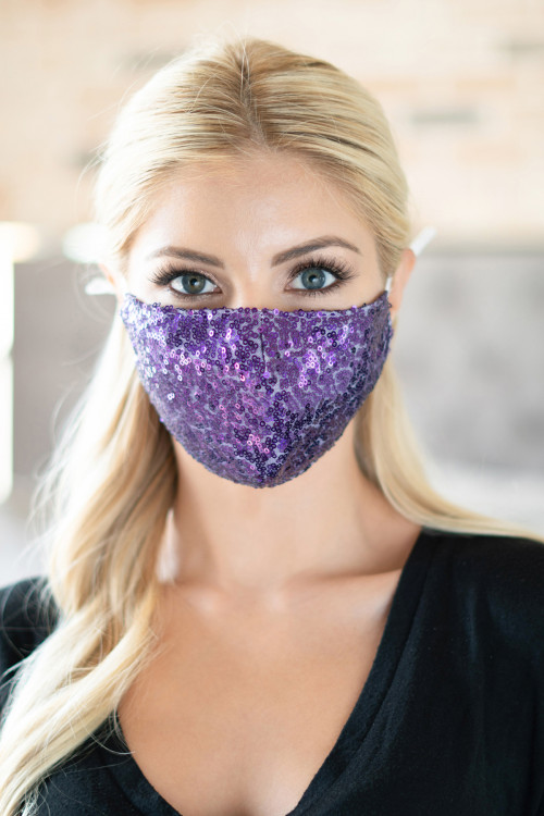 S4-7-3-AMSK2000PU PURPLE GLITTER SEQUINS FASHION FACE MASK W/ FILTER POCKET/6PCS ***WARNING: California Proposition 65***